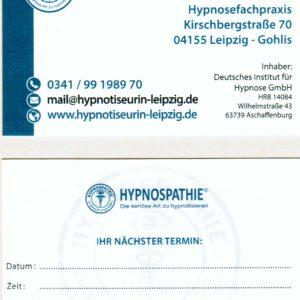 Visitenkarte Hypnospathie - Beispiel